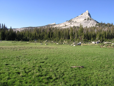 "The middle portion of Long Meadow, looking north, with JMT visible on right. Columbia Finger is the prominent peak. The trail departs the meadow and goes to the east of Columbia Finger. I was tired and dragging (note time in ""photo info"" seen when cursor is over photo) and looking for a campsite. Mosquitoes were moderate."