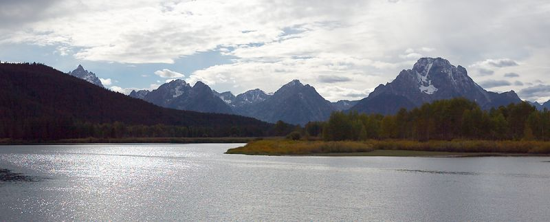 Grand Tetons, Wyoming from Jackson Lake <br>Copyright 2003 Adam Brown