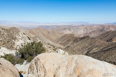 Looking out to the East from just down the mountainside at the Sacatone Overlook.  On the right you can see numerous short trestles of the old railway that cuts through the Carrizo Gorge area.