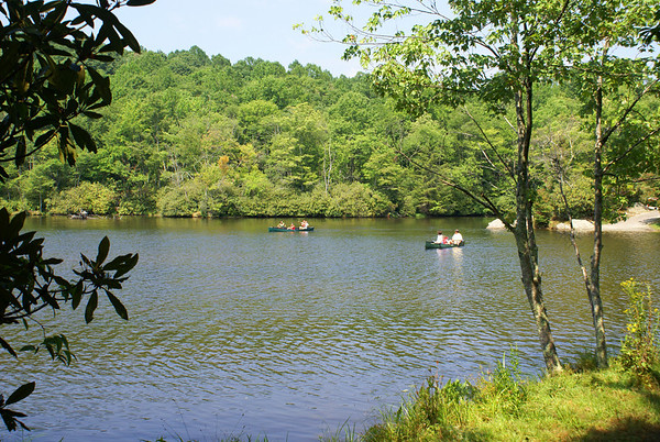 Canoes on Julian Price Lake near Blowing Rock, NC off the Blue Ridge Parkway