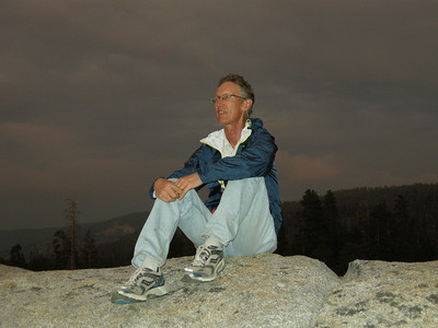 Atop a granite slab near our car-camp, enjoying the sunset.