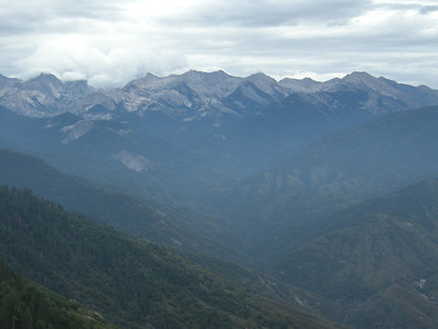 View of the Great Western Divide from atop Moro Rock, a granite dome near Giant Forest in Sequoia National Park.
