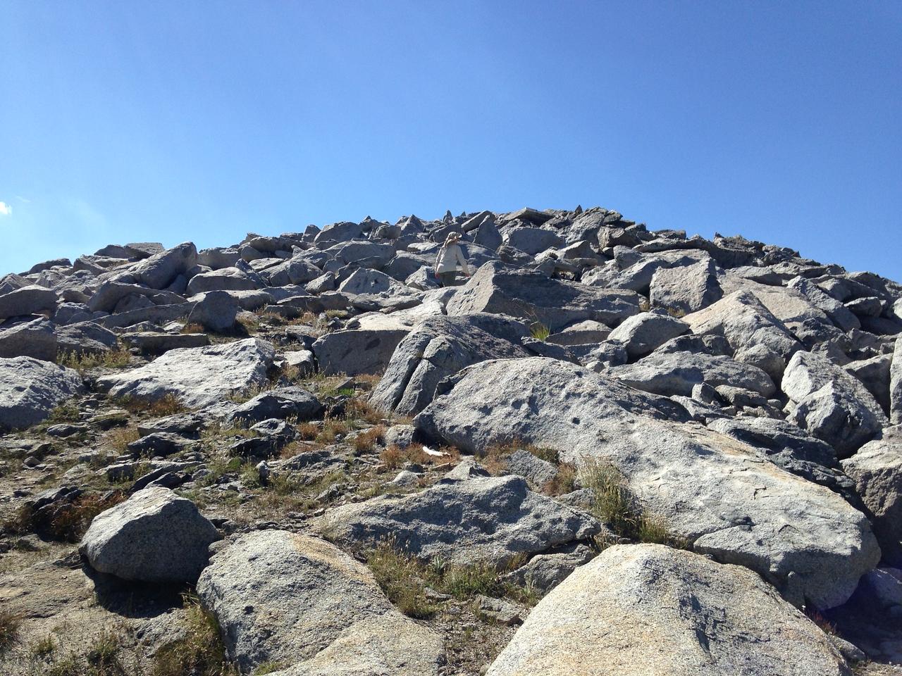 Just below the summit of Mitchell Peak, elevation 10, 365 feet.