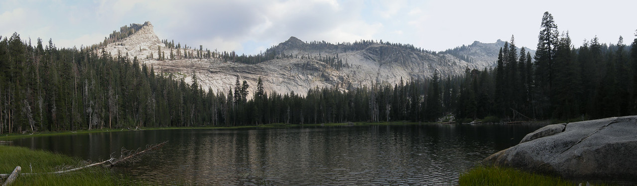 A panorama of Seville Lake and the Silliman Crest. We shared this lake with only two other hikers, who camped far away from us in the trees on the right.