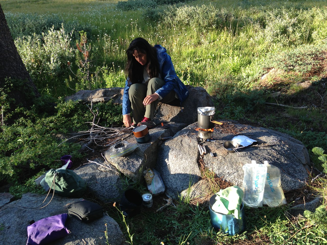 Preparing dinner near our campsite. Pouches of Trader Joe's Indian food, and canned salmon! I'm definitely a lightweight hiker, yet the weight I save with a light pack and tent is well worth a bit of offset for tasty food on a shorter hike such as this.