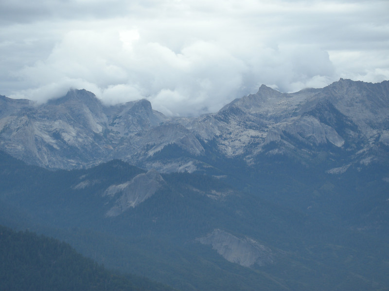 Great Western Divide, partially enveloped in clouds.