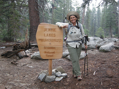 Marvin Pass is the boundary of Jennie Lakes Wilderness. This very new sign has already had a chunk taken out of it; tooth marks at the top appeared to be that of a bear.