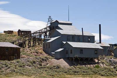 The stamp mill at Bodie.  Rocks were crushed by the mill to extract the ore.