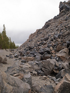 Flank of obsidian dome; note all the rubble