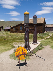 Gas pumps at Bodie.  The town was populated (to some extent, anyway) through the middle of the 20th. century.  Peak population, in the late 19th. century, was ~7,000 to 10,000, depending on your source.