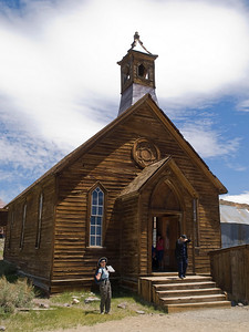 Susan channels Miss Cornelia (of Lucy Maud Montgomery fame) in front of the Methodist church in Bodie.