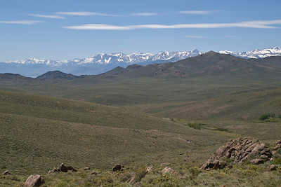 Mono Lake is barely visible in the distance at the left in this photo from CA highway 270 near Bodie.