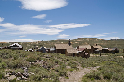 Main part of Bodie ghost town.  The buildings are generally in worse shape than you would think from this photo.