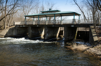 Kalamazoo River Dam in Homer view from park