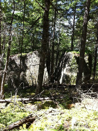Split Rock on portage between Mountain L. and Peskowesk L.