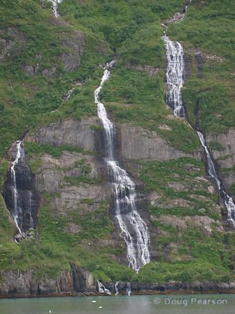 Waterfalls from Ice melt, Kenai Fjords near Seward Alaska