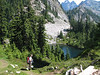 At about 8 miles in we reached this alpine lake. We knew it was time to turn around.