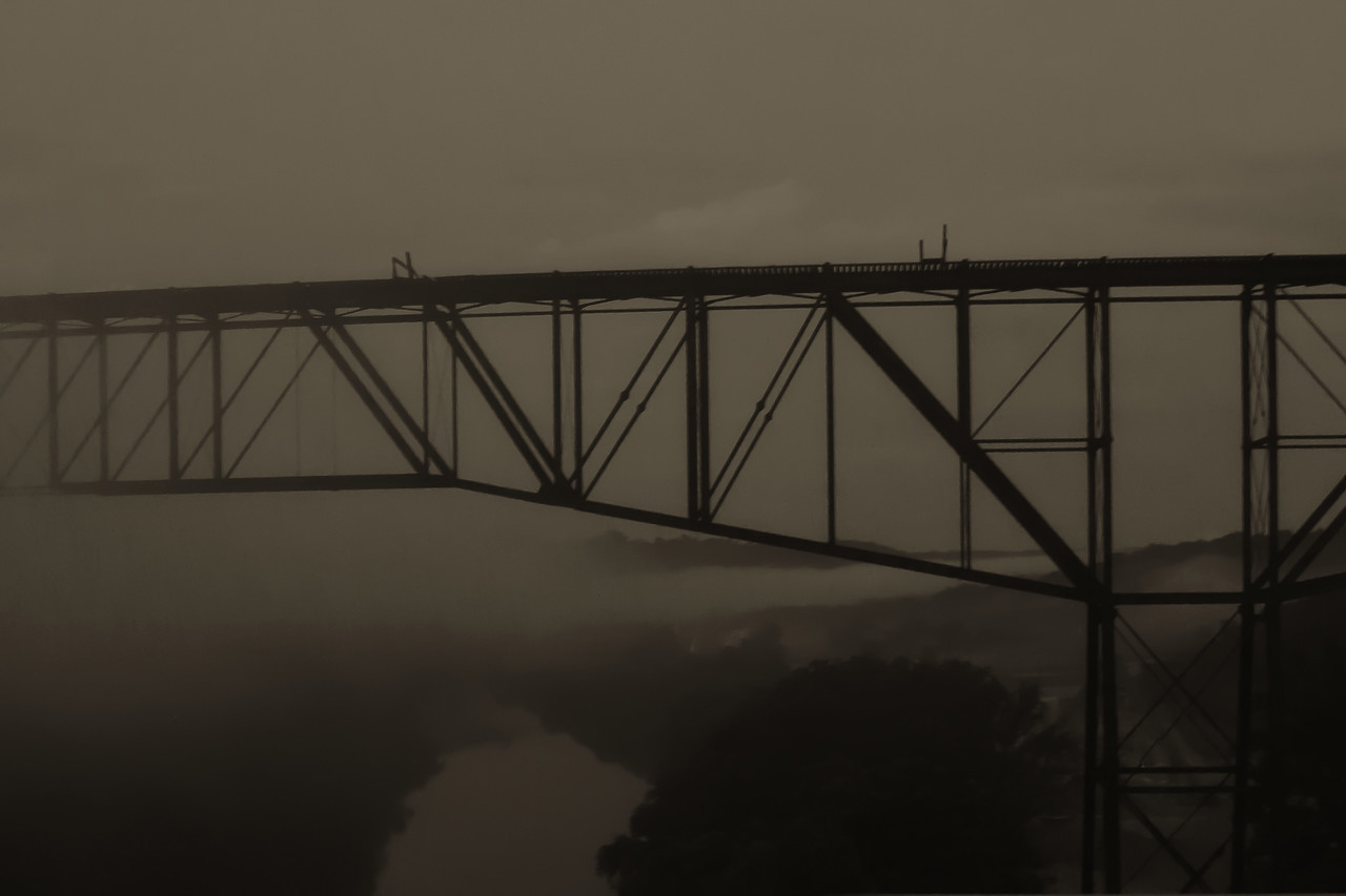 Fog on the Kentucky River - The Railroad Bridge (Young's High Bridge, Tyrone, Kentucky) was built August 21, 1889.