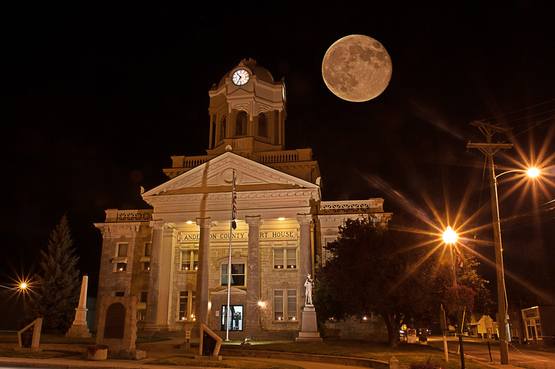 Anderson County Court House by the light of a full moon. Taken July 4, 2012