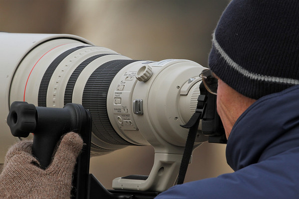 Greg in the viewfinder behind a Canon 600mm, F4L. That's a big lens!