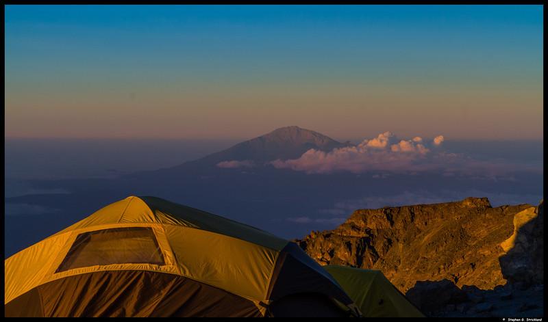 Barafu camp. Sunrise on Mt. Meru