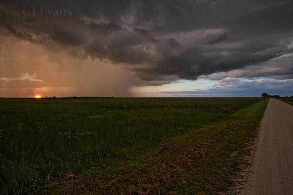 Rainy sunset, on Peavine Trail (Kissimmee Prairie Preserve)