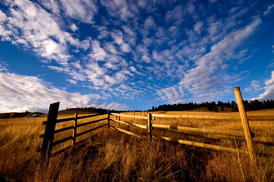 Fence and open field outside of Midway, B.C.