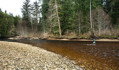 Steve Hohf at Silverman's Hole,  Kadake Creek, Kuiu Island, Alaska April 2013 -- great Cutthroat and Steelhead Hole
