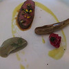 Course #15:  the meat course - from the top, lamb from the farm, eggplants, sun-dried tomato, and eggplant puree with fresh dill.