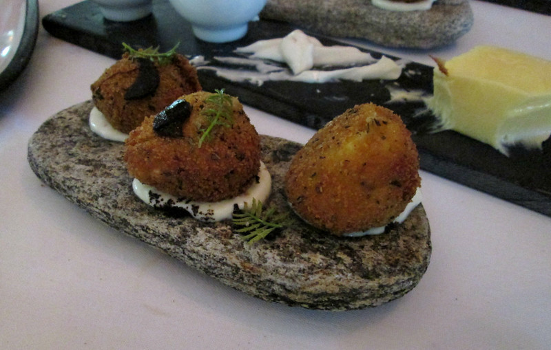 and last, but not least, lamb's brains - fried like a croquette, sitting on a bed of lardo.  I couldn't bring myself to eat organ meats, but my table companions all had one and said they were very good.