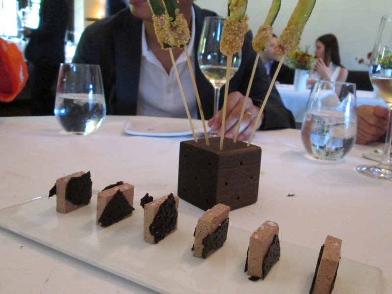 course #7:  in front is a pork liver pate with salt, surrounded by chocolate.  It tasted like foie gras.  In the cube are skewers of zucchini covered in sesame seeds.