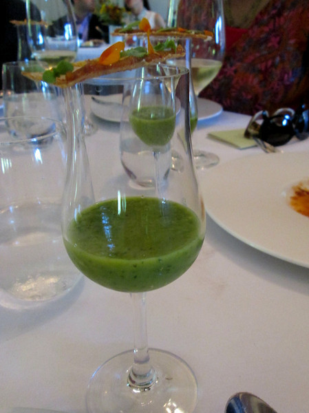 course #10: a gazpacho made from various green veggies - several items (but no peas)
