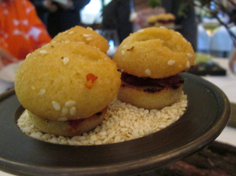 course #6: roasted tomato sliders with a tiny brioche bun