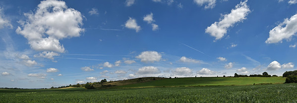 A 2 shot photomerge panorama looking across the fields towards the ridge of Lincoln Edge