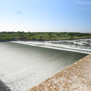 280 ft long settling basin