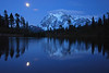 The moonrise over Mt. Shuksan made for a little different perspective on the normal Picture Lake reflection photo.