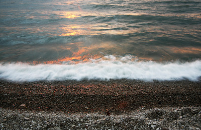 waves and shore at sunset, lake erie