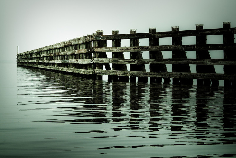 The jetty at the south end of Lake George, marking the St. Johns River Inlet.