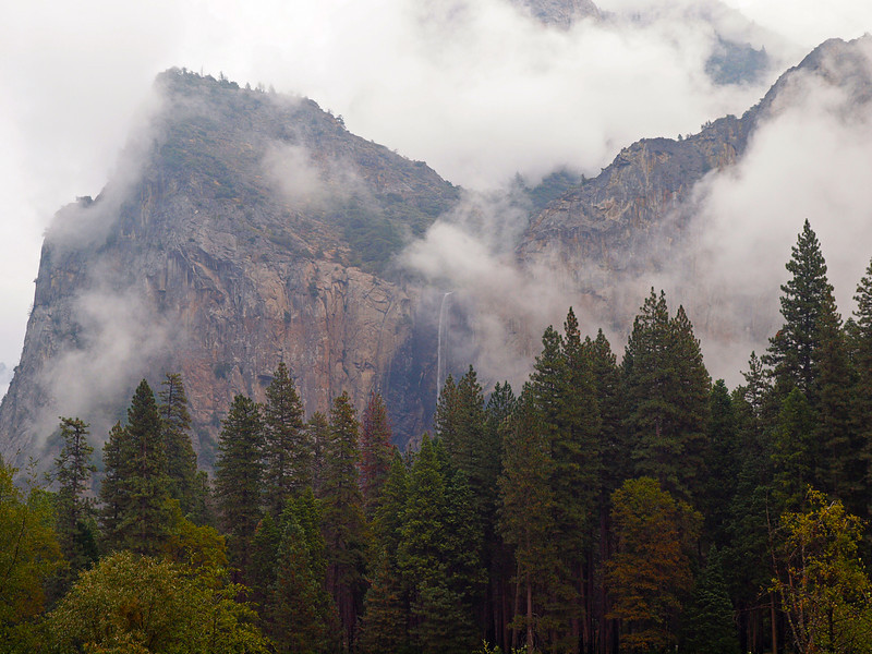 Bridalveil Falls and clouds in Yosemite Valley - 23 Oct 2010