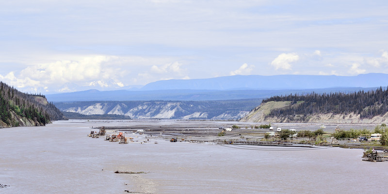 Fish Wheels in the Copper River. Chitina, Alaska. #716.054. 1x2 ratio format.