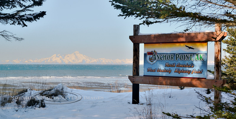 Most Westerly Highway point in North America. Anchor Point, Kenai Penninsula, Alaska. #320.019.