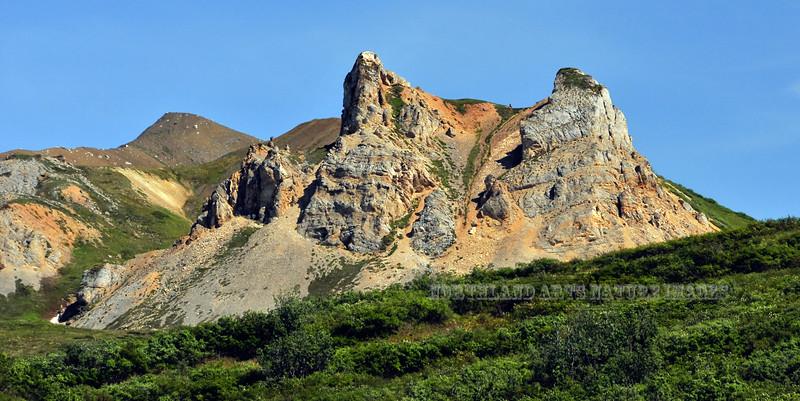 Limestone Towers in the Alaska Range, Alaska. #74.073.