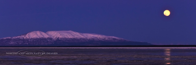 """A rare  """"Long Night's eclipse of the Blue Moon"""" occurred New Years Eve 2009. The Moon is setting off the side of Mount Susitna, looking west over Cook Inlet from Anchorage Alaska. As the eclipse progressed the moon turned orange on the lower  left side but fog formed on the horizon and the moon actually set before it was complete. # 1231.040."""