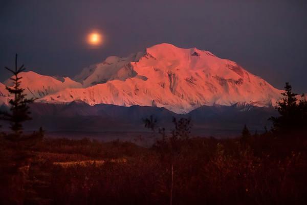 Moon over Denali
