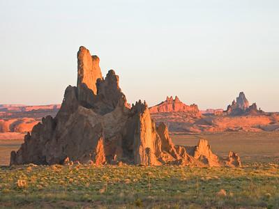 Volcanic stacks near Monument Valley, Arizona.