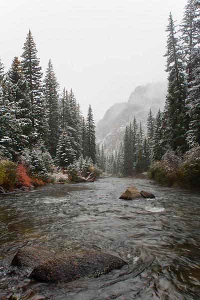 Snow and fog enshroud the Taylor River canyon near Gunnison, Colorado.