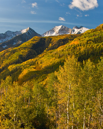 Early morning sun delicately accentuates fall colors  on McClure Pass between Carbondale and Paonia, Colorado.
