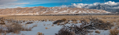 Morning reveals the panorama of The Great Sand Dunes National Park after an evening snow.