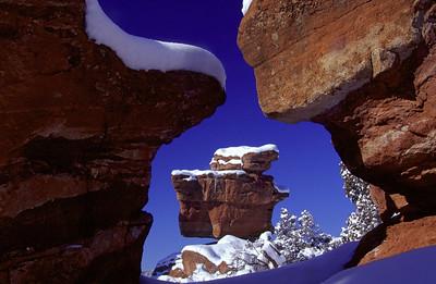 Balanced Rock dusted with snow in Garden of the Gods, near Colorado Springs, Colorado.