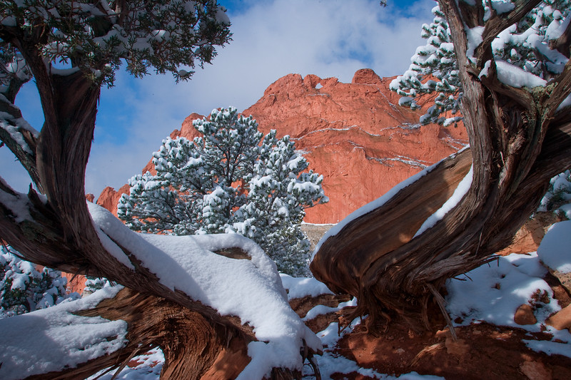 Snowy Easter sunrise at Garden of the Gods, Colorado Springs, Colorado